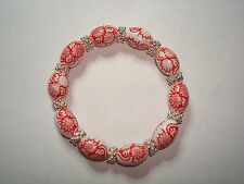 Handmade Red & White Beaded Elastic Bracelet