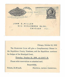UY4m Postal Stationery Card Republican Political Chicago 1908 Time Cummins 7