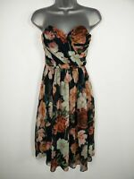 BNWT WOMENS ASOS BLUE PINK MULTI FLORAL SWEETHEART FIT FLARE OCCASION DRESS UK 8
