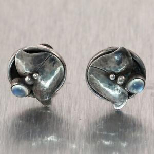 Vintage Estate Georg Jensen Sterling Silver #822 Handwrought Clip-on Earrings