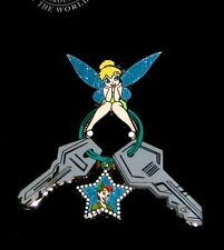 Rare Le 100 Disney Pin✿Tink Tinker Bell Car House Keys Peter Keychain Ring Star
