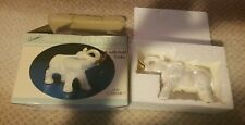 Cameo Collection Ceramic Pearlized Elephant With Gold Tusks Rare new in box