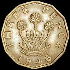 More details for george vi, 1937-52. brass threepence, 1946. scarce.