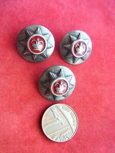 THREE RED ENAMEL BUTTONS with QUEEN'S CROWN DESIGN. FIRE BRIGADE?