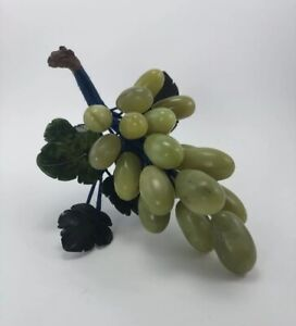 Vintage Cluster of Chinese Olive Green Jade Grapes Spinach Leaves