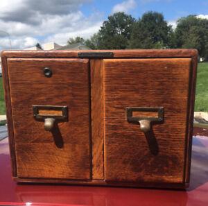 Antique Quartersawn Oak Card  File Box Cabinet Globe Wernicke Style 1901 Tagged