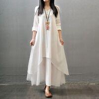 Women Country Ethnic Boho Cotton Linen Long Sleeve Maxi Dress Loose Blouse Shirt
