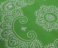 Vintage Tablecloth Hand Embroidered  Lace Border Square Green 48 x 48