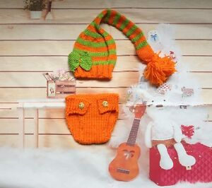 Newborn Green Orange Elf Hat 2 Piece Crochet Christmas Set Photo Prop 0-3 months