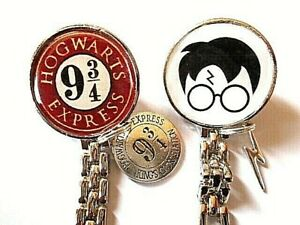 Harry Potter Face Hogwarts Express 9 3/4 Nurse Fob Watch Scar or 9 3/4 Charms