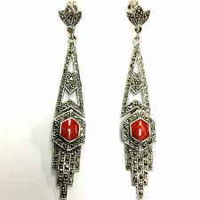 GORGEOUS ART DECO INSPIRED RED CORAL MARCASITE EARRINGS 925 STERLING SILVER