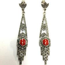 Splendido Art Deco ispirato Rosso Corallo MARCASSITE Orecchini 925 Argento Sterling