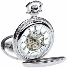 Skeleton Pocket Watch Chrome Plated Very Detailed Double Half Hunter - 17 Jewel
