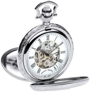 Skeleton Pocket Watch Chrome Plated Very Detailed Double Half Hunter 17 Jewel