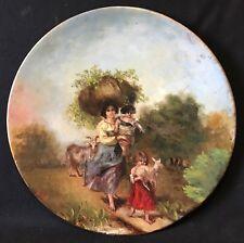 Bergère aux chèvres et enfants signée J ROLL circa 1900 Enfant chèvre Italia