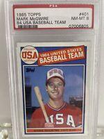 🔥 1985 Topps #401 Mark McGwire USA Baseball RC Rookie PSA 8 NM-MT