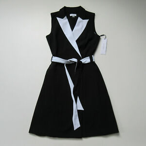 NWT Calvin Klein Colorblocked in Black White Contrast Belted Wrap Dress 4