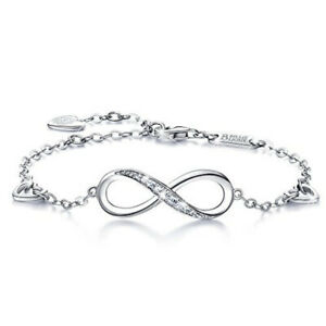 Fashion New Exquisite Infinity Symbol White Zircon Silver Bracelet Jewelry Gift