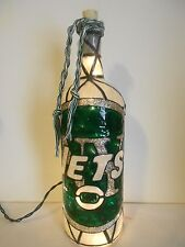 New York Jets Inspiered Hand Painted Lighted Wine Bottle Stained Glass look