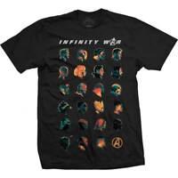 Avengers Infinity War Character Heads Official Marvel Black Mens T-shirt