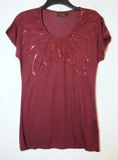 BURGUNDY RED LADIES CASUAL PARTY TOP BLOUSE SEQUINS SIZE 16 NEXT STRETCHY