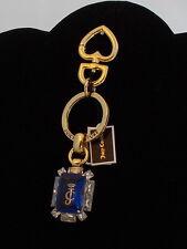 Juicy Couture Goldtone Blue Gemstone Handbag Charm Key Fob Keychain WJW571 $58