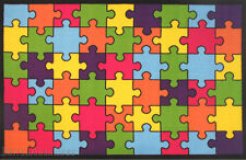"4'3""x6'6""  Area  Rug  Jigsaw Puzzle Game  Kids Fun Time Educational  New"