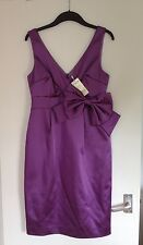 BNWT Ladies L.K. Bennett Purple Wedding/Occasion Dress With Bow-Size 12 RRP £199