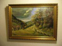 Altes Gemälde von 1947, Landschaft Dorf, K. Haug, evt. Kristian Haug Norwegen ?