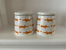 2 X Scion Mr Fox Storage Jars 250ml Orange/ White