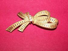 Ladies 14K Diamond Bow Shaped Brooch Pin Signed Dan Frere