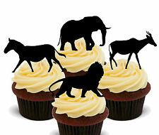 African Animal Silhouettes Edible Cupcake Toppers - Stand-up Cake Decorations