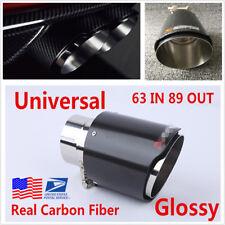 63mm- 89mm Steel+Carbon Fiber Car Exhaust Muffler Silencer Pipe Tip Tail Throat