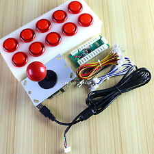 ARCADE DIY PARTS USB LED ENCODER + JOYSTICK + 10 LED Illuminated ARCADE BUTTON