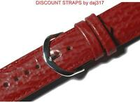 CLEARANCE SALE - 16mm RED Genuine Leather Watch Strap, Padded SHARK Grain. AU1CH
