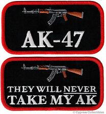 LOT TWO AK47 PATCHES embroidered iron-on ASSAULT RIFLE Kalashnikov 2nd AMENDMENT