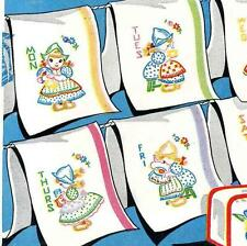 Hand Embroidery Transfer 672 Dutch Girls for Days of the Week Towels pot holders