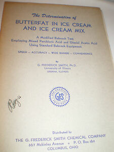 G. Frederick Smith Chemical Co Determination of Butterfat in Ice Cream