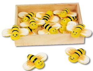 12 süße Deko Bienen aus Holz mit Klebepunkt 2cm zum Basteln Dekorieren