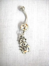 NEW FARM ANIMAL BULL / COW w BELL WAVING HI CHARM ON CLEAR CZ BELLY BUTTON RING