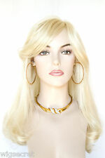 Long Blonde Red Straight Skin Top Wigs with Long Side Swept Bangs and Waves