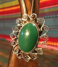 Large Vintage Mexico Sterling Silver Oval Green Onyx Pendant Brooch (11g)