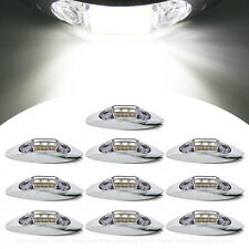 10X White Side Light 3 LED Marker Clearance Lamp Chrome Base Car Truck Trailer
