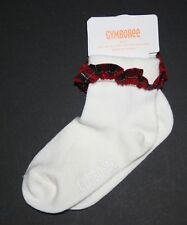 New Gymboree Plaid Ruffle Holiday Socks Socks 6-12M NWT Shoe Sz 3-4 Very Merry
