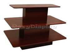 Rectangular 3 Tier Display Table Cherry Color Clothes Racks Stands #3Tier60C-Rk