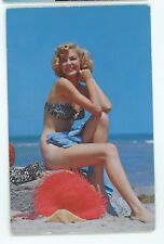 Sexy Beach Girl, Young Woman in Swimsuit Vintage 1958 Postcard