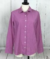 J Crew Stretch Perfect Magenta Pink Check Button Down Shirt Women Sz M Cotton