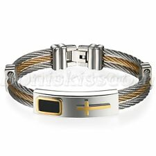 Fashion Stainless Steel Cross Wire Mesh Belt Bracelet Cuff Bangle Men's Jewelry