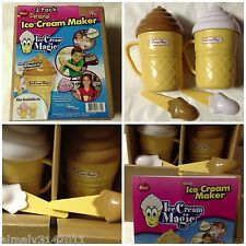 Lot of (12)(2 Pack) Ice Cream Magic Personal Ice Cream Maker White & Brown Lid