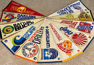 Lot of 11 NASL Felt Soccer Pennants Fury Stompers Strikers Surf Whitecaps Chiefs